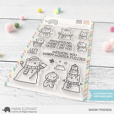 Mama Elephant Snow Friends Stamps