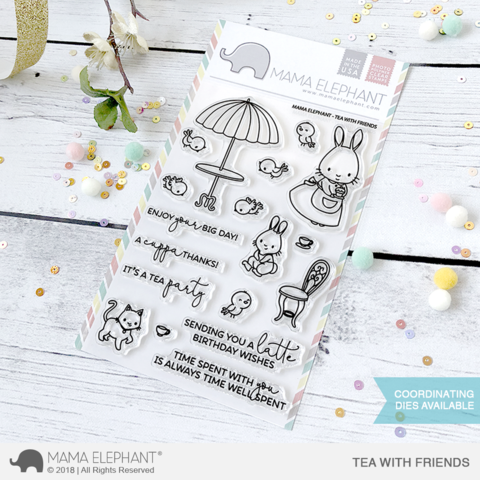 Mama Elephant Tea with Friends clear stamps