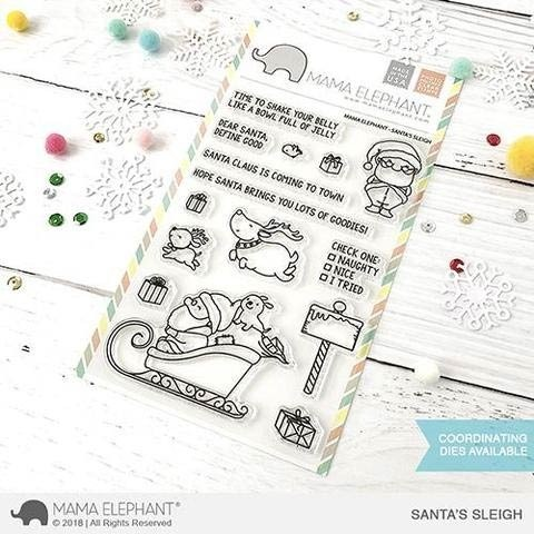 Mama Elephant Santas Sleigh Clear Stamps