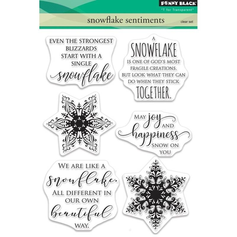 Penny Black Snowflake Sentiments Clear Stamp Set