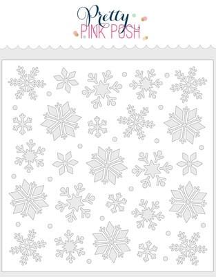 Pretty Pink Posh Snowflakes Stencil