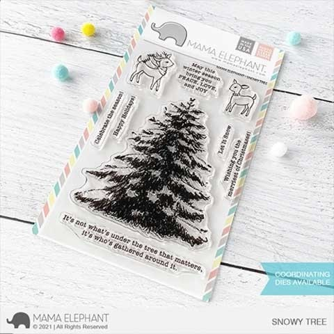 Mama Elephant Snowy Tree Clear Stamp Set
