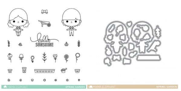 SALE - Mama Elephant Spring Garden Stamp and Die Set
