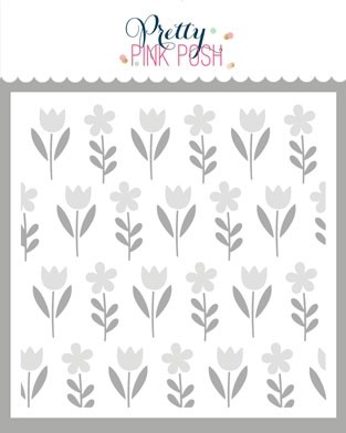 Pretty Pink Posh Spring Flowers Stencil Set