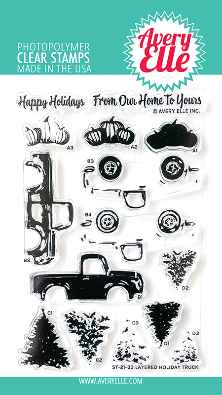 Avery Elle Layered Holiday Truck Clear Stamps ST-21-33
