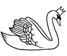 5675c - swan with crown rubber stamp