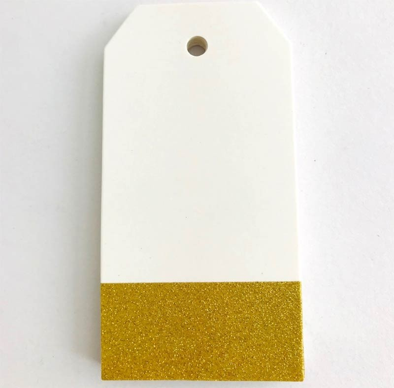 Gold Glitter Rectangle Paper Tags: 2 x 3 inches