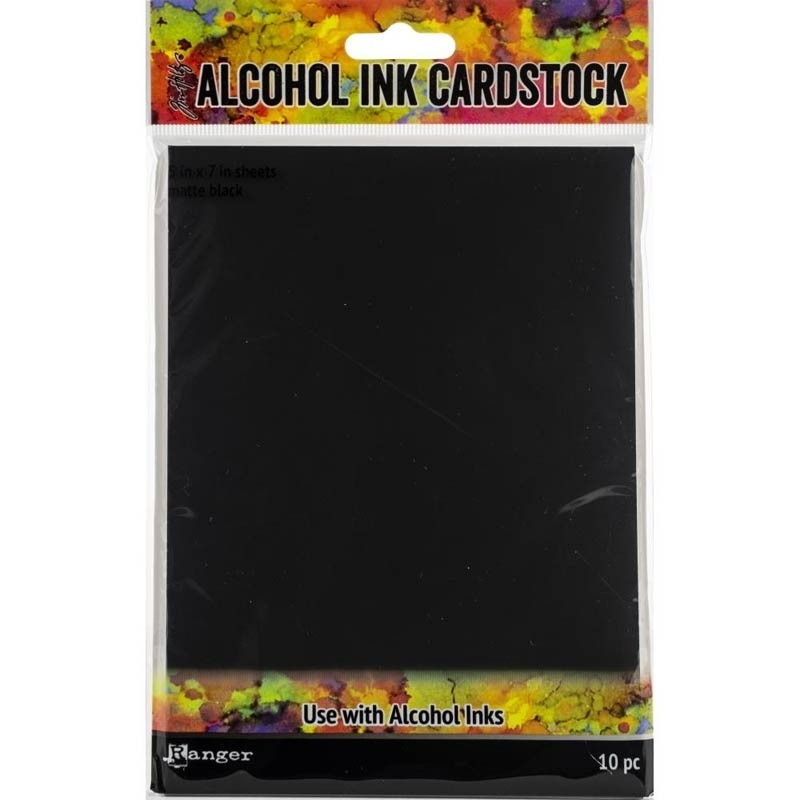 "Tim Holtz Alcohol Ink Black Cardstock 5""X7"" 10/Pkg"