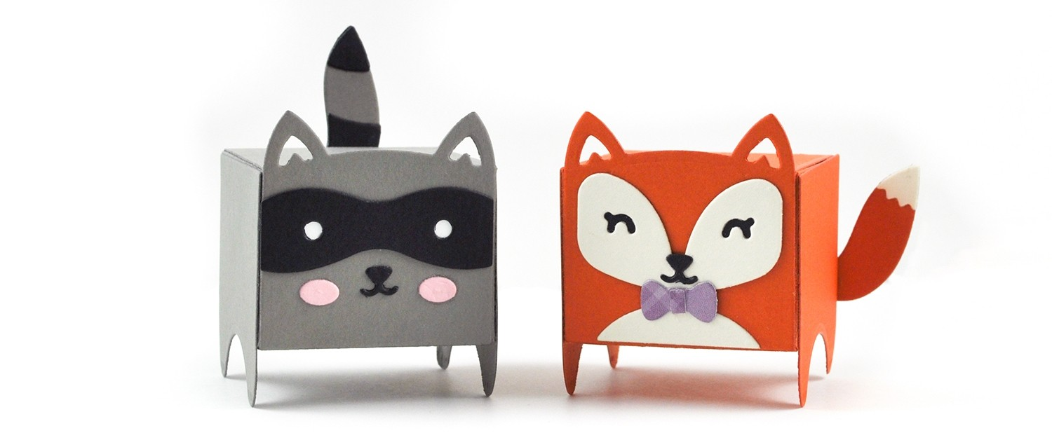 Lawn Fawn Tiny Gift Box Racoon and Fox add-on
