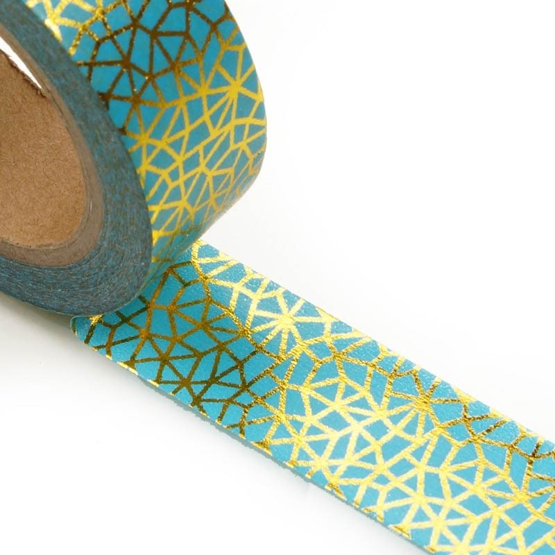 Turquoise With Gold Lines Washi Tape