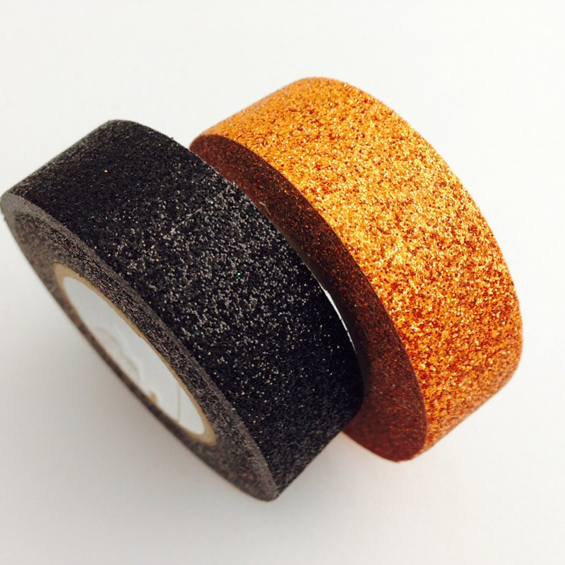 Orange and Black Glitter Washi Tape