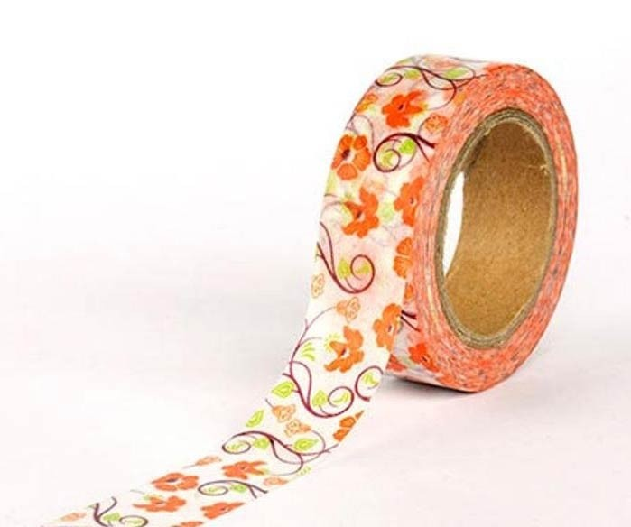 Orange Floral Washi Tape