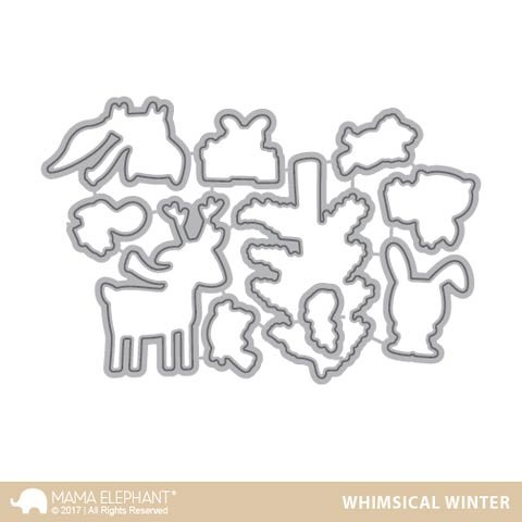 Mama Elephant Whimsical Winter Cuts