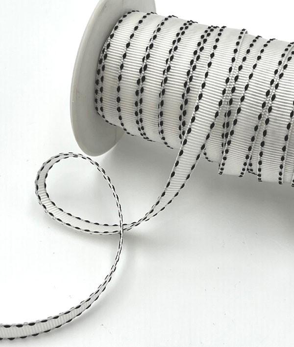 White with Black Edges Ribbon