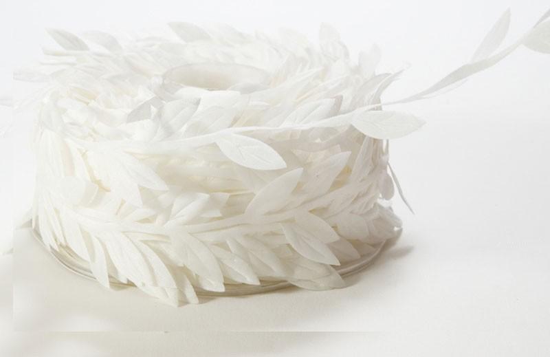 Classic White Leaves Ribbon