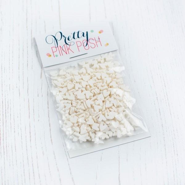 Pretty Pink Posh White Hearts Clay Confetti