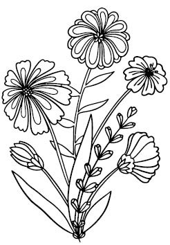 5749H - wildflower rubber stamp