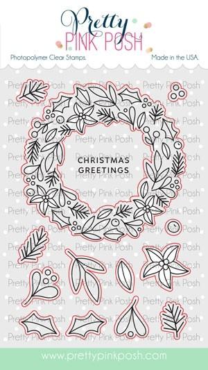 Pretty Pink Posh Winter Wreath stamp set