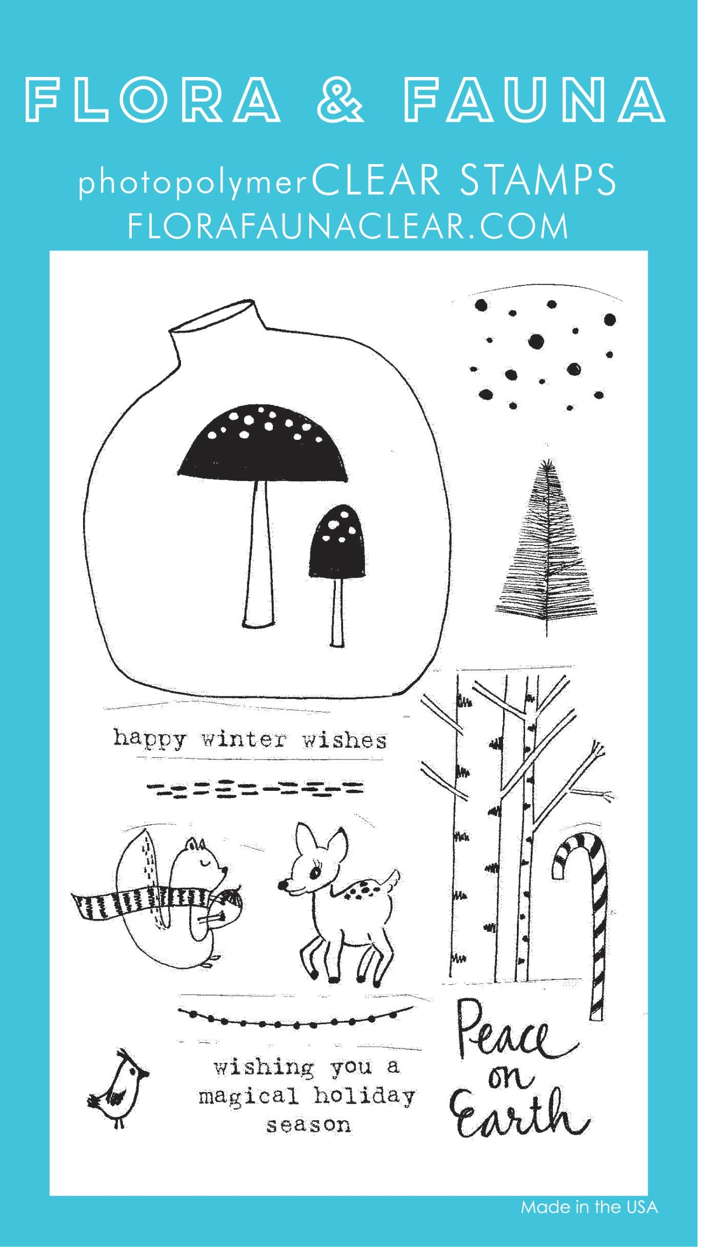 Flora & Fauna Winter Woodland Clear Stamp Set